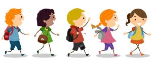 illustration of kids walking